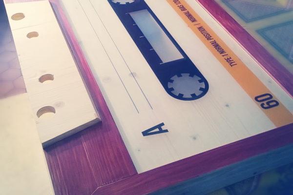 table basse k7 cassette audio
